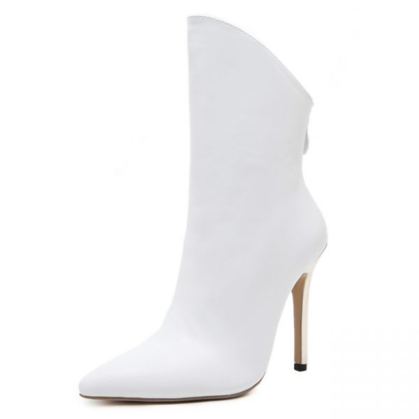 Classic Solid Thin Heel Pointed White Boots