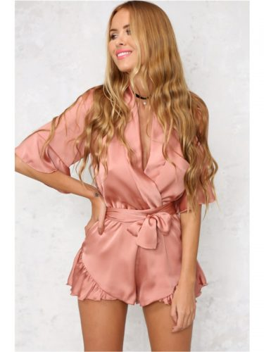 Deep V Neck Tie-Wrap Ruffled Hem Women Romper