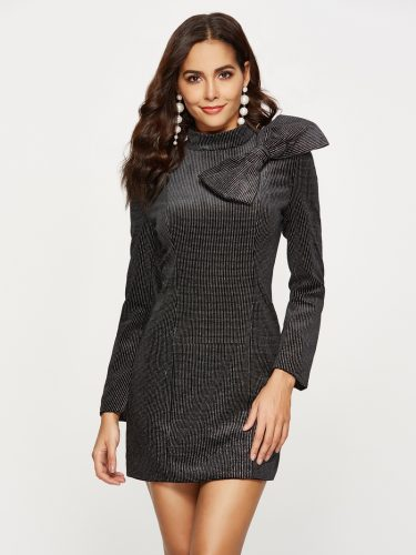 Dots Bow Mock Neck Fitted Dresses