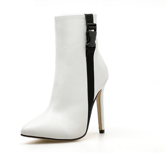 Euro Contrasting Colors Thin Heel Boots