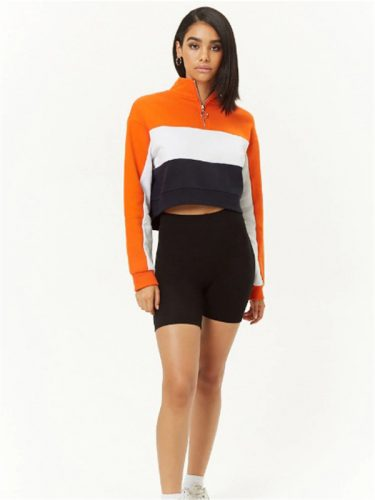 Euro Contrasting Colors Zipper Cropped Sweatshirt