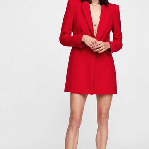 Euro Double-breasted Fitted Solid Womens Blazer