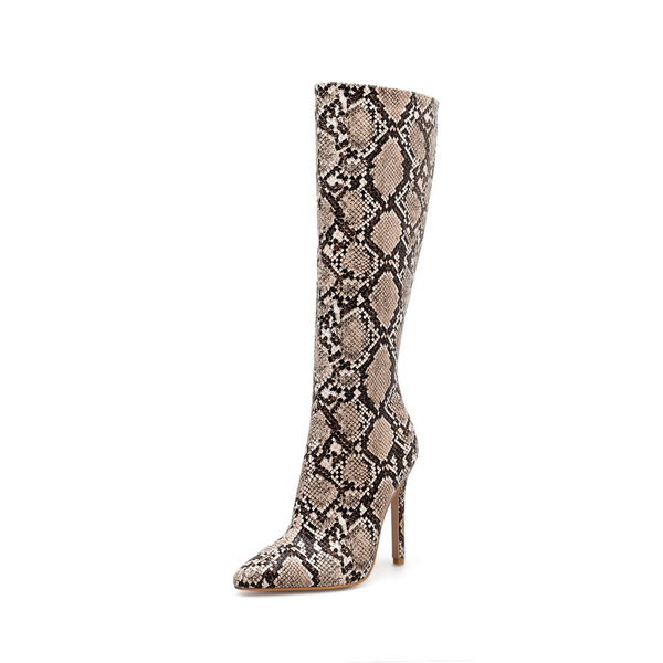 Euro Snake Print Thin Heel Night Club Boots