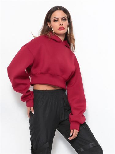 Euro Solid Crop Red Hoodies For Women