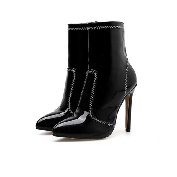 European Pointed Toe Black High Heel Boots