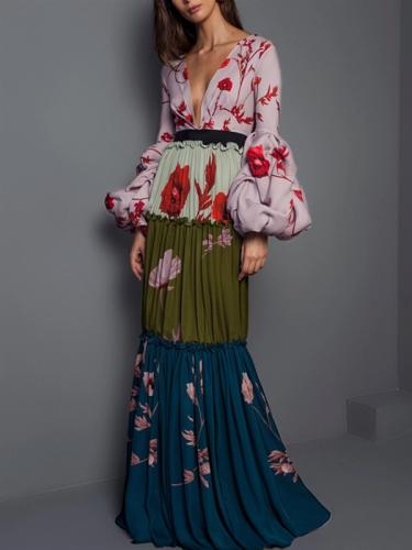Fashion Deep V Neck Colorblock Floral Prom Dress