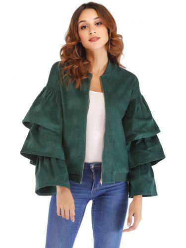 Hot Sale Puff Sleeve Zipper Up Green Coat