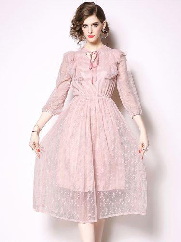 Lace Ruffle Pink Elegant Dresses