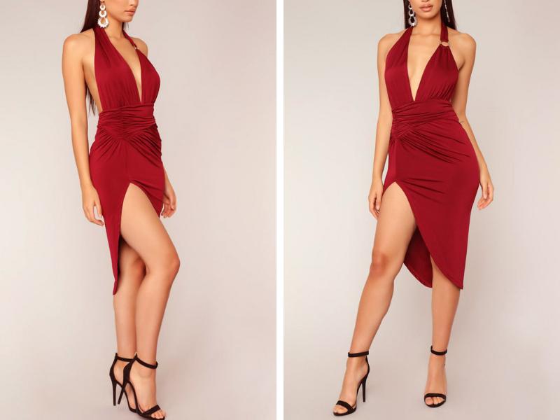 Sexy Halter Split Open Back Dress