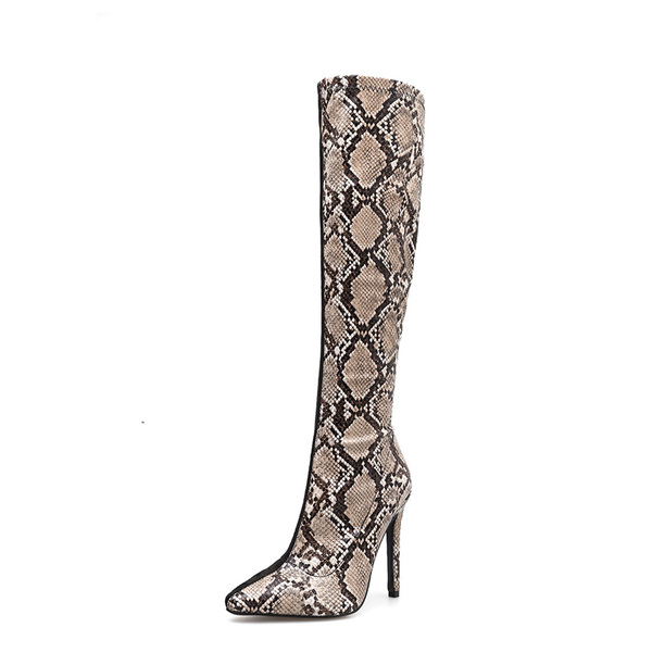 Sexy Patchwork Snake Print Thin Heel Knee Boots