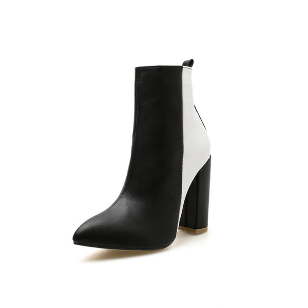 Stylish Contrasting Colors Pointed Chunky Boots