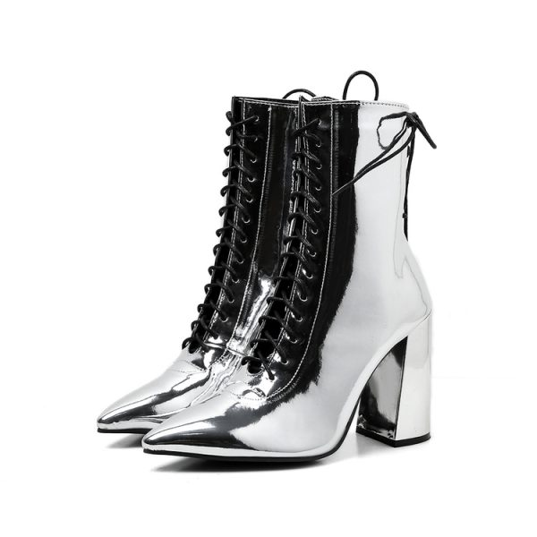 Stylish Lace Up Pointed Mid Calf Boots