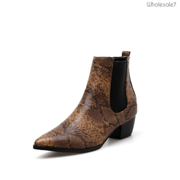 Winter Pointed Snake Print Slip On Chelsea Boots