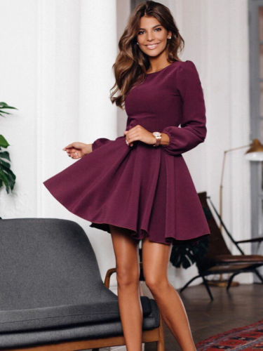 Winter Solid Puff Sleeve Ruffles Long Sleeve Dress