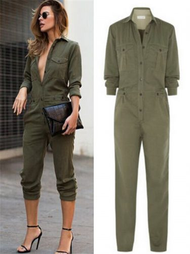 Army Green Button Closed Casual Jumpsuit