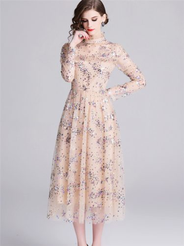 Beautiful Gauze Stand Collar Sequin Dress