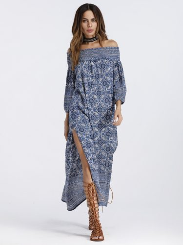 Boat Neck Printing High Slit Sexy Boho Dress