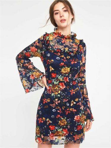 Bohemian Floral Patchwork Dark Blue Long Sleeve Dress
