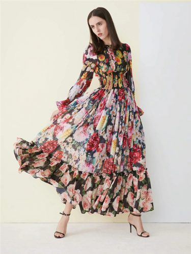 Boutique Floral Print National Style Maxi Dress
