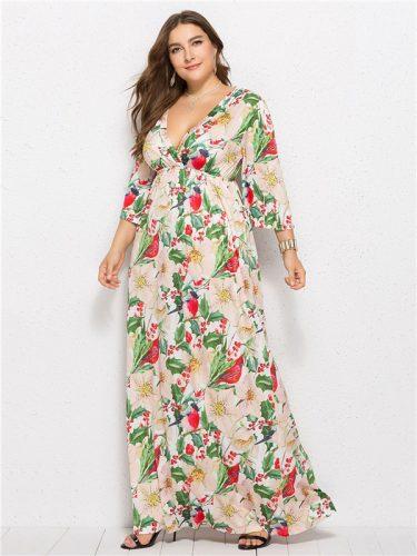 Euro Deep V Neck Floral Printed Loose Maxi Dress