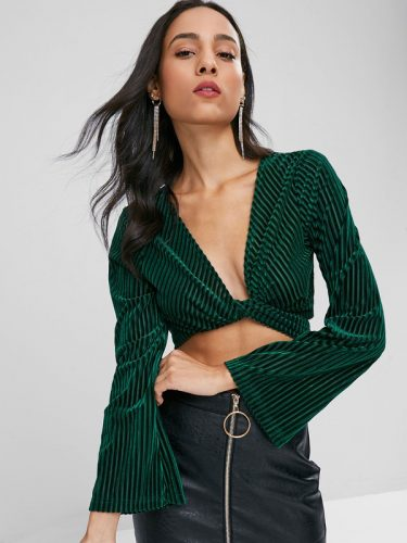 Euro V-Neck Binding Bow Green Cropped Top