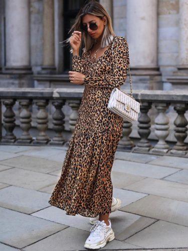 Euro V Neck Leopard Print Maxi Dress