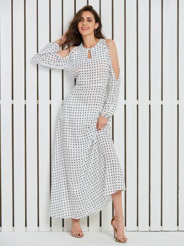 Hot Sale Off Shoulder Polka Dots Loose Dress