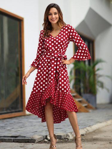 Hot Sale Polka Dot Tie Wrap Fashion Dress