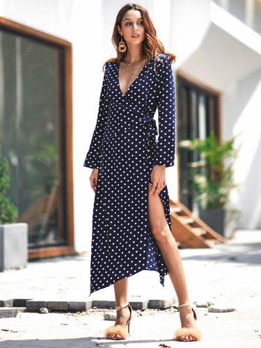 Hot Sale Polka Dot Tie Wrap Women Dress