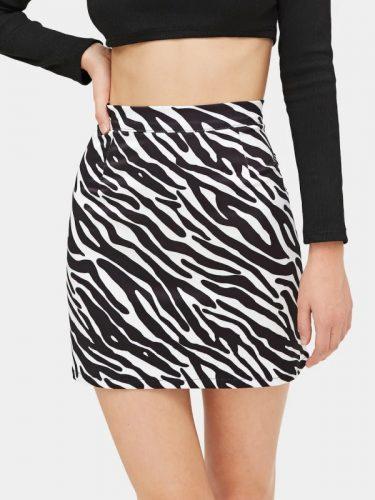 Hot Sale Zebra Print Black Mini Skirt