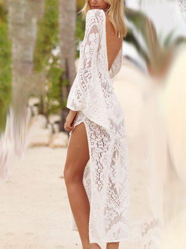 Hot Selling Backless Split Lace Beach Long Dress