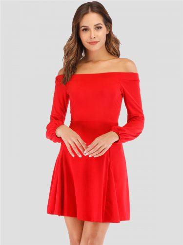 Lantern Sleeve Off The Shoulder Dress