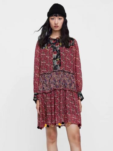 National Style Floral Long Sleeves Loose Chiffon Dress
