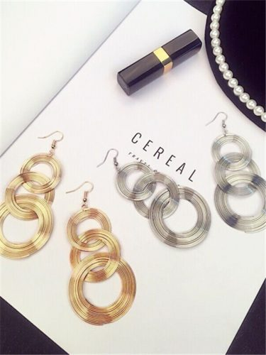 Night Club Metallic Round Chic Alloy Earrings
