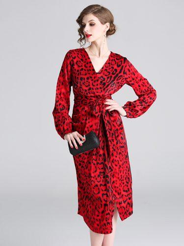 Retro Binding Bow Leopard Print Dress