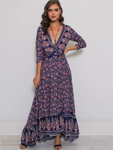 Sexy Deep V Neck Split Hem Floral Maxi Dress