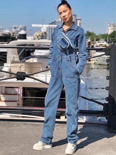 Single-Breasted Pocket Wide Leg Denim Jumpsuit