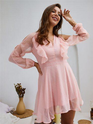 Spring V Neck Solid Sweet Long Sleeve Dress
