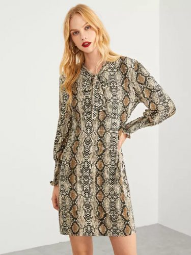 Stylish Binding Bow Snake Printed Dresses