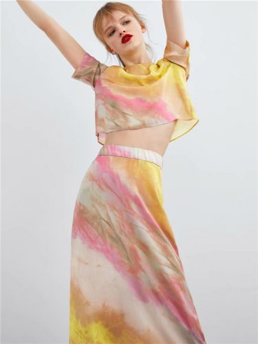 Stylish Tie-Dyed Short Sleeve Loose Womens Outfits