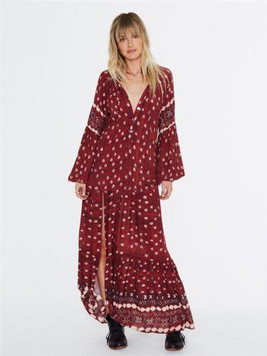 V Neck Lantern Sleeve Split Hem Maxi Dress