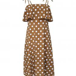 Polka Dot Ruffled Straps Dress