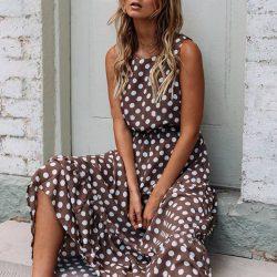Crew Neck Polka Dots Sleeveless Midi Dress