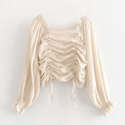 Drawstring Pleated Blouse