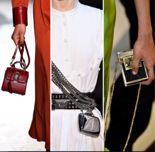 3 girls holding Three kinds of ltty bitty bags on the catwalk