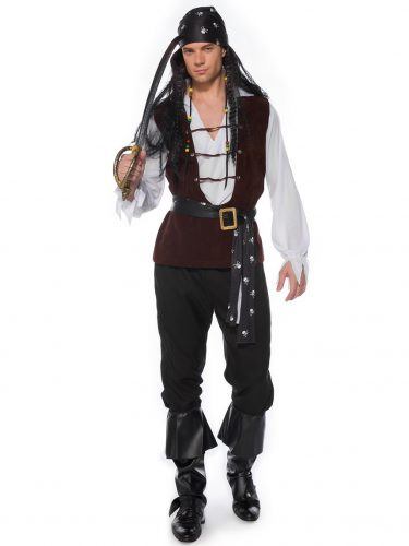 A man dressed pirate costumes