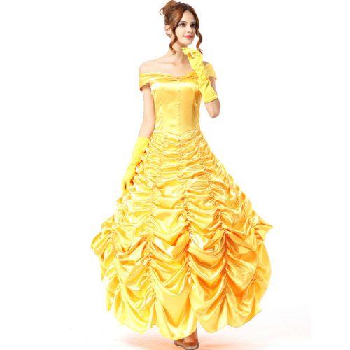 women wear a yellow Princess dress