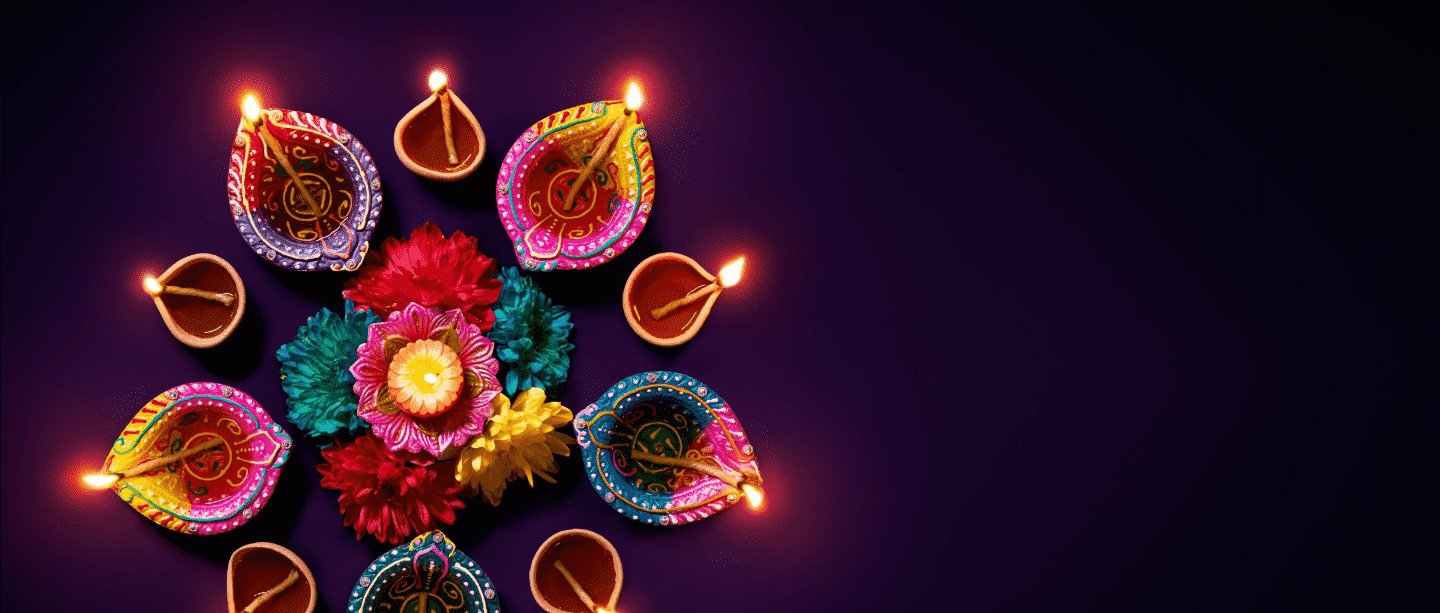 Diwali celebrations with handle candle