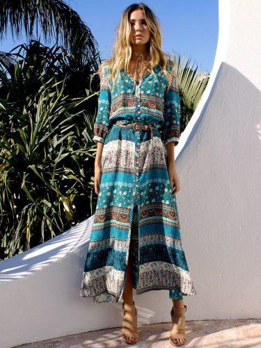 Split Hem Print Maxi Dress