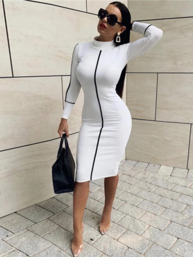 Fitted Contrast Color Long Sleeve Dress